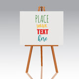 Wooden easel with canvas. Blank space ready for your advertising and presentation. Vector mock up illustration. Stock Photos
