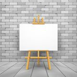 Wooden easel canvas board isolated stand in front wall. Blank empty vector easel poster billboard.  vector illustration