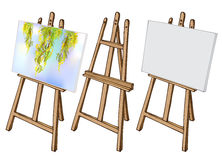 Wooden easel and canvas. Wooden painting easel with blank canvas. Cartoon coloful sketch style easel isolated on white background. Easel with blank canvas, with vector illustration