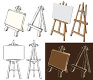Wooden easel and canvas Royalty Free Stock Photos