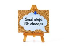 Wooden easel with corkboard and blue speech bubble with phrase S Stock Photos