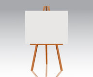 Wooden easel with empty canvas. Blank space ready for your advertising, design and presentation. Vector mock up illustration. Stock Photo