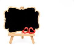 Wooden easel mini blackboard, empty space for text Stock Images