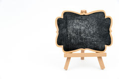 Wooden easel mini blackboard isolated on white Royalty Free Stock Image