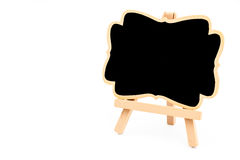 Wooden easel mini blackboard isolated on white Stock Photo