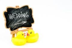 Wooden easel mini blackboard, text WEDDING Stock Image