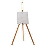 Wooden easel over isolated white background Stock Photo