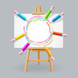 Wooden Easel and Pencil Absrtact Background. Vector illustration vector illustration