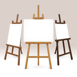 Wooden Easel Set. With blank white canvases represented from different sides isolated vector illustration vector illustration