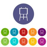 Wooden easel set icons Royalty Free Stock Images