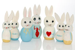 Wooden easter bunnies Stock Photography