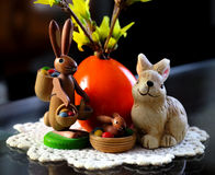 Wooden easter bunny nostalgia Royalty Free Stock Images