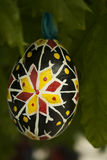 Wooden Easter egg. Hand-painted hanging on a tree Stock Photography