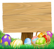 Wooden Easter Egg Sign Stock Photo