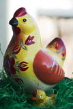 Wooden easter hen. With small chicken Stock Photos