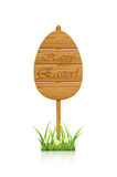 Wooden Easter sign in a grass Stock Images