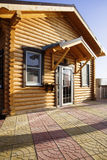 Wooden, eco-friendly house. Of from roundwood Stock Photo