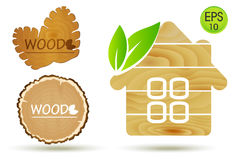 Wooden Eco House Logo. Vector Wooden set with cone and wood cut Royalty Free Stock Photography