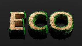 Wooden Eco word with vegetation growth Royalty Free Stock Image