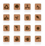 Wooden Ecology icons - Vector Icon Set Stock Photos
