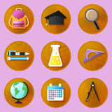 Wooden education icons Royalty Free Stock Images