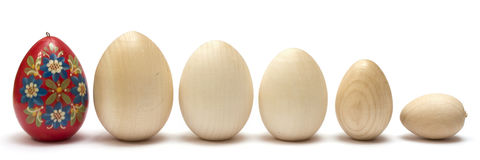 Wooden eggs Stock Photos