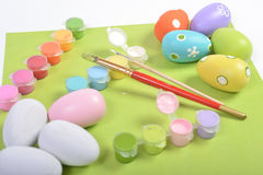 Wooden Eggs Painting In Process Royalty Free Stock Photography
