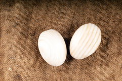 Wooden eggs. Royalty Free Stock Photo