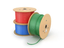 Wooden electric cable reels Stock Photos