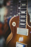 Wooden electric guitar body detail Stock Photo