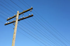 Wooden electric pole Royalty Free Stock Photography