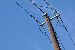 Wooden electric pole Stock Photography