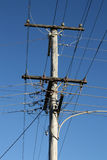 Wooden electric pylon Royalty Free Stock Images