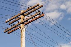 Electrical Pole. Wooden electrical pole and sky Royalty Free Stock Photography