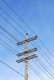 Wooden electrical pole Stock Images