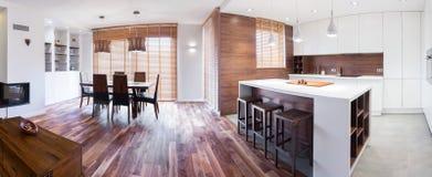 Wooden elegant detached house Stock Image