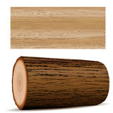 Wooden elements. Vector wooden plank and tree stump Royalty Free Stock Images