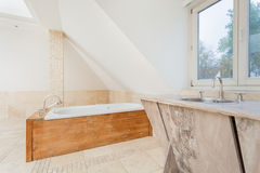 Wooden elements at the bathroom. View of wooden elements at the bathroom Stock Photo