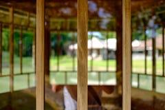 Wooden elements with defocus. Three wooden elements with defocus Stock Photos