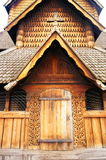 Wooden elements of the stave church, Norway Stock Image