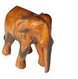 Wooden Elephant. Sculpture isolated over a white background stock photos