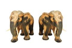 Wooden elephant Thai handmade isolated on white Stock Photos