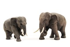 Wooden elephants. Two hand-carved asian elephant, made of wood, from Thailand Stock Images
