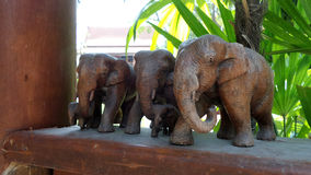 Wooden elephants Stock Images