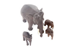 Wooden elephants Stock Photo