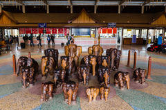 Wooden Elephants at Laos Bus Terminal Royalty Free Stock Photography