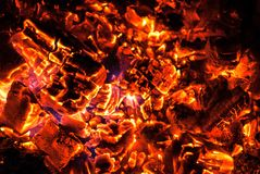 Wooden Embers Glowing burning in oven. Texture photo Royalty Free Stock Photography