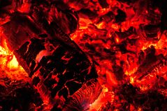 Wooden embers glowing after a fire in oven Royalty Free Stock Photos