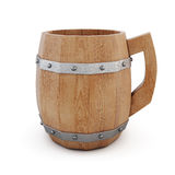 Wooden empty beer mug on a white background. 3d rendering Royalty Free Stock Image
