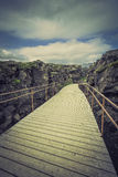 Wooden empty bridge path in the mountains Royalty Free Stock Photo